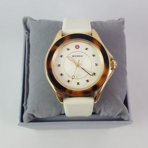 Michele Faux Tortoise Shell Gold Ivory White Watch